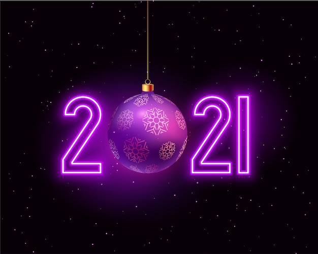 Happy new year greeting card with 2021 numbers in neon style and christmas bauble