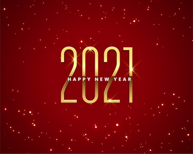 Happy new year greeting card with 2021 sparkles golden numbers