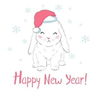 Happy new year greeting card with bunny in santa claus hat