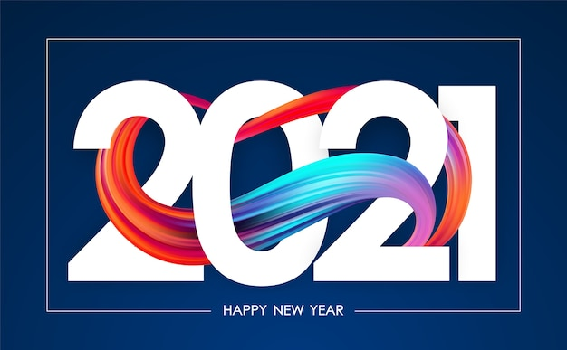 Happy new year. greeting card with colorful abstract twisted paint stroke shape. trendy design