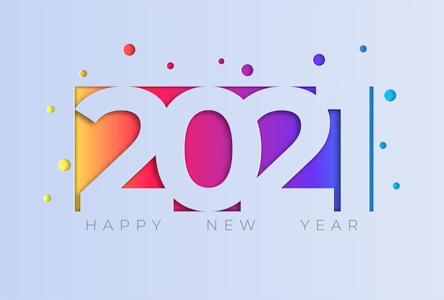 Happy new year  greeting card with colorful modern
