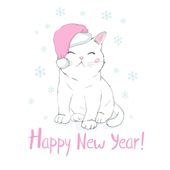 Happy new year greeting card with cute funny cat face in santa claus hat