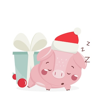Happy new year greeting card with cute sleeping pig. chinese symbol of the 2019 year. design for print, poster, invitation, t-shirt. vector illustration.