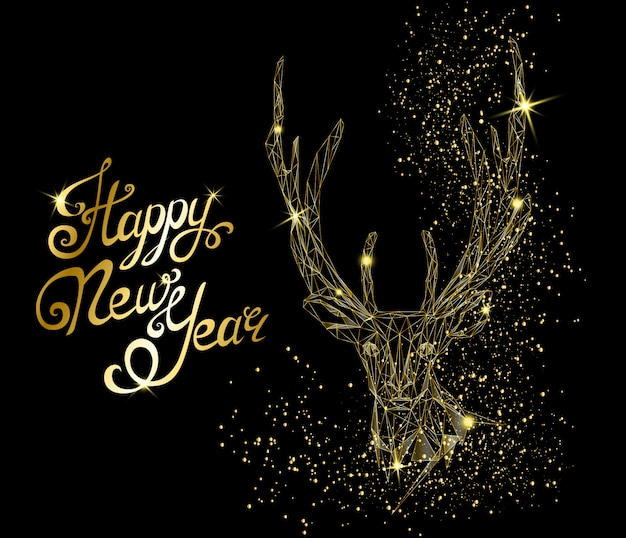 Happy new year greeting card with deer head