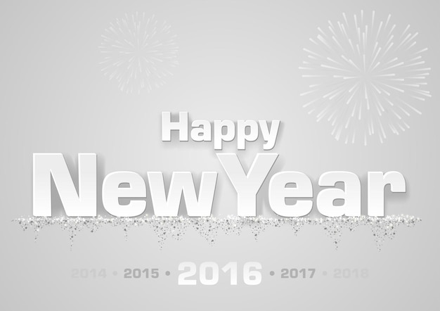 회색 배경 위에 불꽃과 함께 새 해 복 많이 인사말 카드