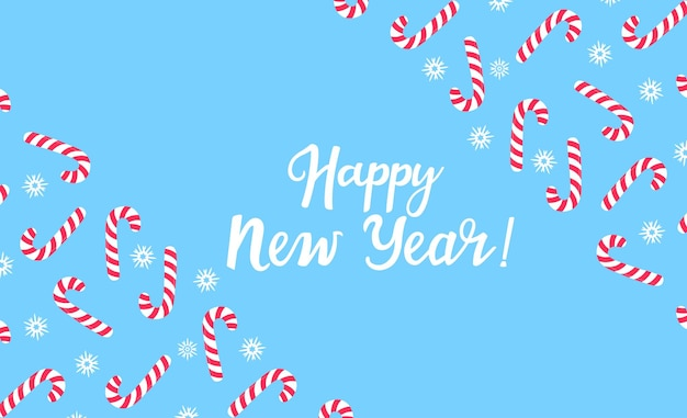Happy new year greeting card with a frame of snowflakes and lollipop. winter horizontal banner. hand drawn lettering. handwritten inscription