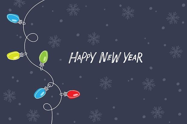 눈 덮인 진한 파란색 배경에 화환 전구가 있는 새해 복 많이 받으세요 인사말 카드