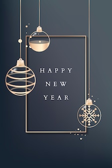 Happy new year greeting card with golden baubles