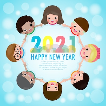 Happy new year greeting card with group kids