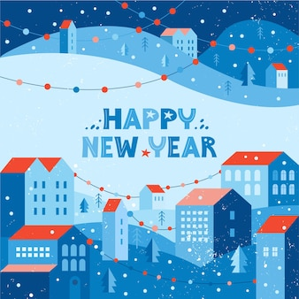 Happy new year greeting card with illustration of snow city in winter decorated with garlands. urban landscape