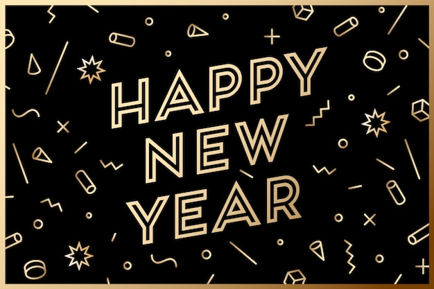 Happy new year. greeting card with inscription happy new year