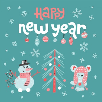 Открытка с новым годом с надписью цитатой. симпатичные мыши украшают елку и снеговика.