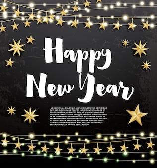 새해 복 많이 받으세요. 네온 화환과 황금 별 인사말 카드입니다. 벡터 일러스트 레이 션.