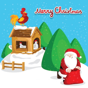Happy new year greeting card with santa claus