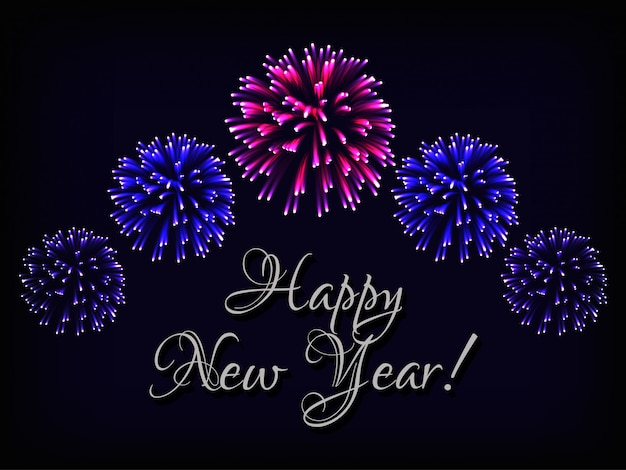 Happy new year greeting card with text and fireworks