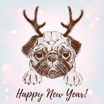 Поздравительная открытка с векторным портретом собаки с рогом