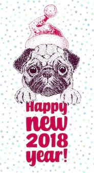 Счастливый новогодняя открытка с векторным портретом собаки