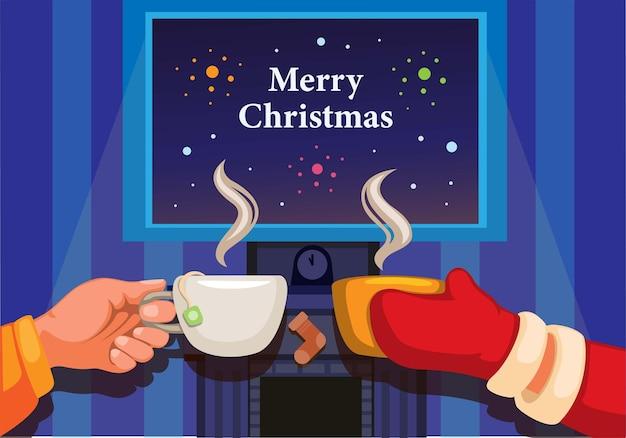 음료 coffe와 차 만화 일러스트 벡터와 함께 행복 한 새 해 인사 축 하