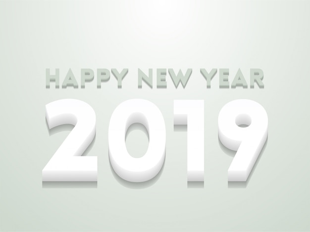 Happy new year greeting illustration with colored 2019 numbers.
