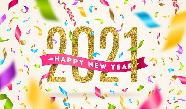 Happy new year  greeting illustration. year sign with pink ribbon and multicolored confetti.