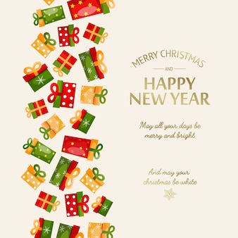 Happy new year greeting template with calligraphic golden inscription and colorful gift boxes on light illustration
