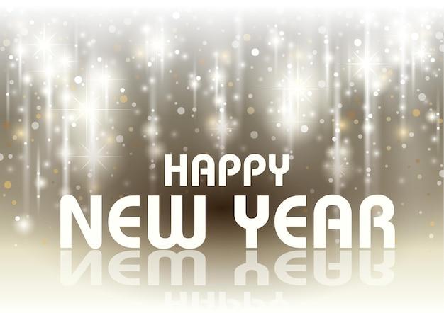 Поздравление с новым годом с падающими светящимися звездами