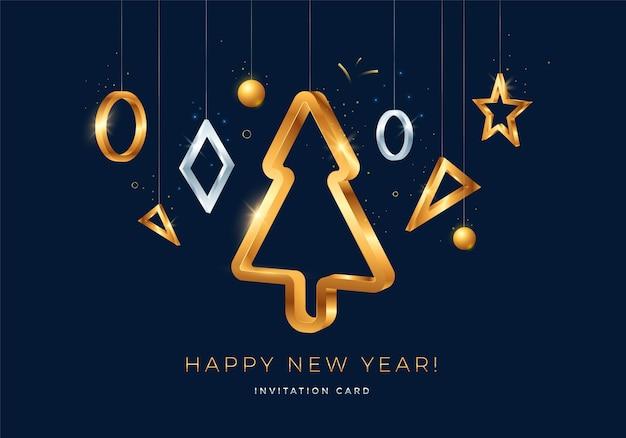 Поздравление с новым годом со стилизованной елкой.