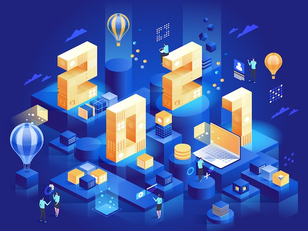 Happy new year greetings for business concept. huge  numbers with office work symbols on platforms: laptop data analyzing, career, colleagues meetings.  character illustration isometric view