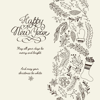 Happy new year greetings typography design decorative card doodle with wishes all your days be merry and bright