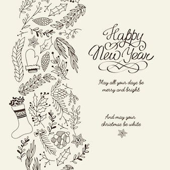 Happy new year greetings typography design postcard doodle with wishes all your days be merry and bright illustration
