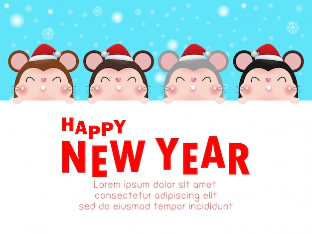 Happy new year, group little rat with big signboard.