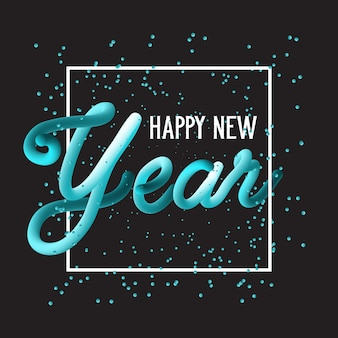 Happy new year hand drawn lettering background
