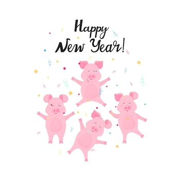 Happy new year hand drawn lettering and confetti. cute pigs having fun. celebration card.