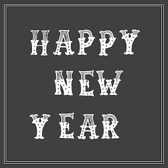 Happy new year -  hand lettering card vector.