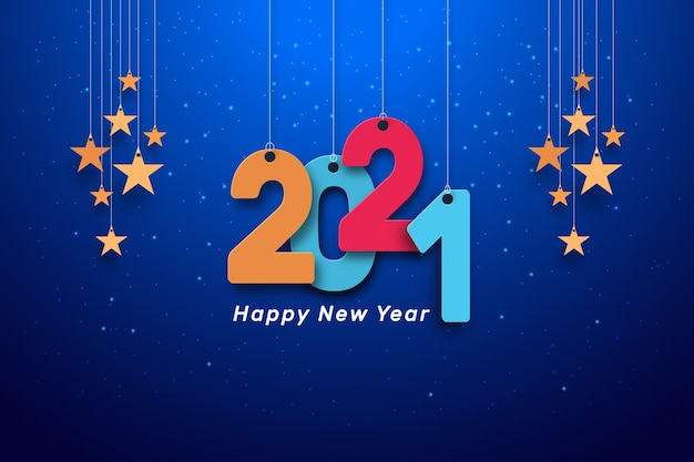 Happy new year hanging colorful text blue background with stars