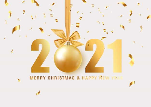 Happy new year. hanging realistic bauble ball on gold ribbon with bow. holiday gift card. golden numbers.  illustration