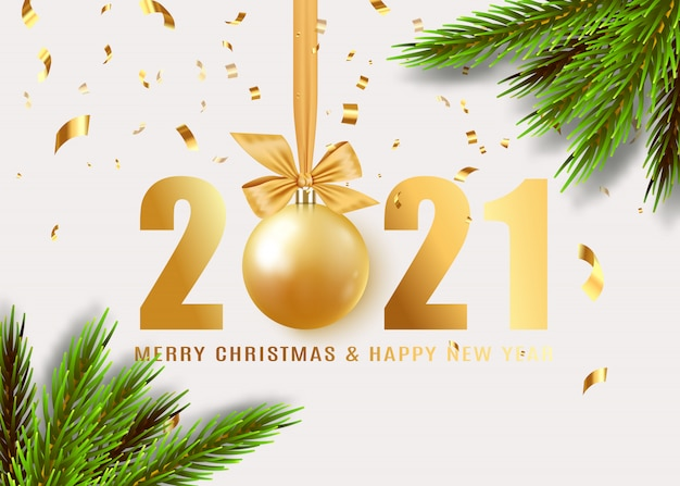 Happy new year. hanging realistic bauble ball on gold ribbon with bow. holiday gift card. golden numbers.
