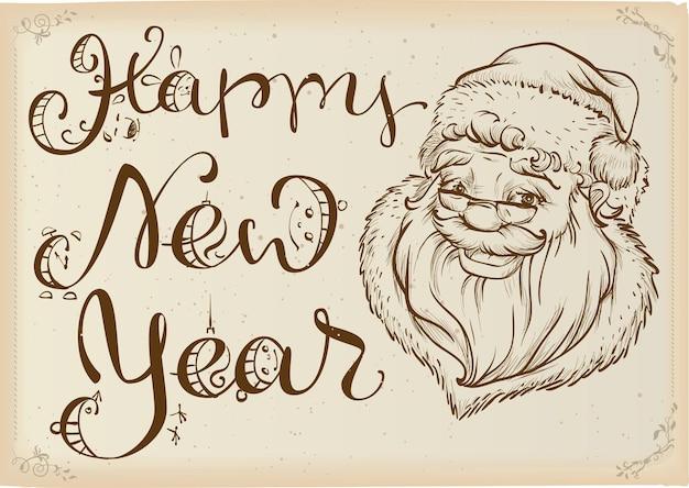 С новым годом глава санта-клауса и текстовая надпись шаблон карты