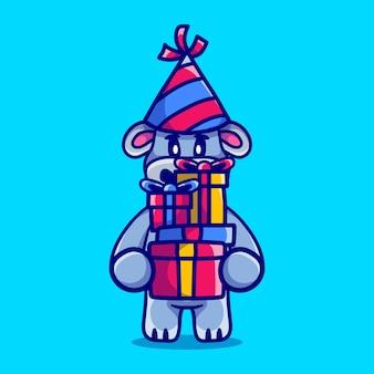 С новым годом бегемот приносит кучу подарков