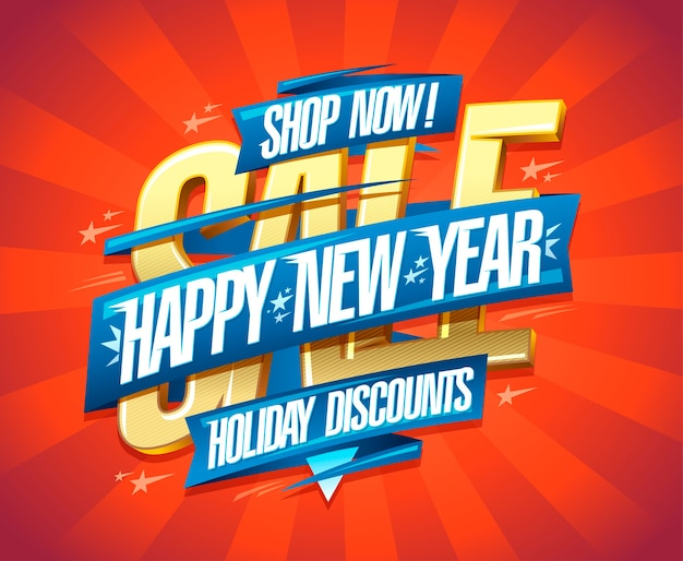 Happy new year holiday discounts vector banner  template