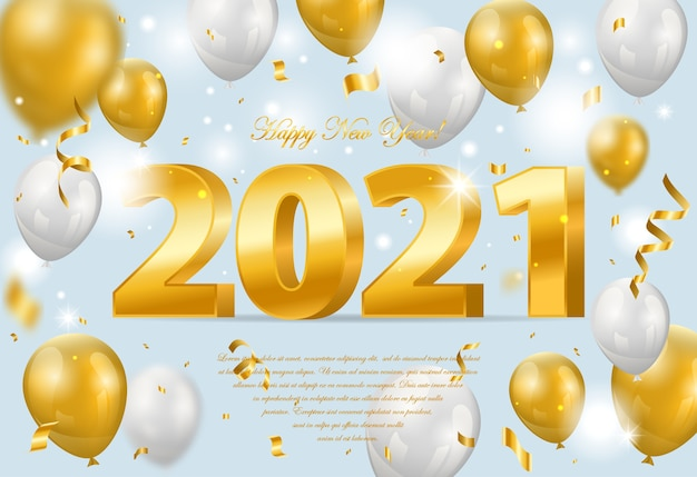 Happy new  year. holiday  illustration of golden metallic numbers  with balloons and confetti