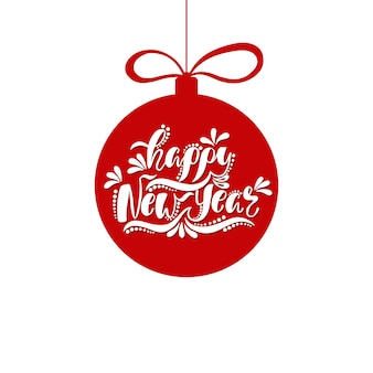 Happy new year holiday typography design in shape ball christmas greeting card