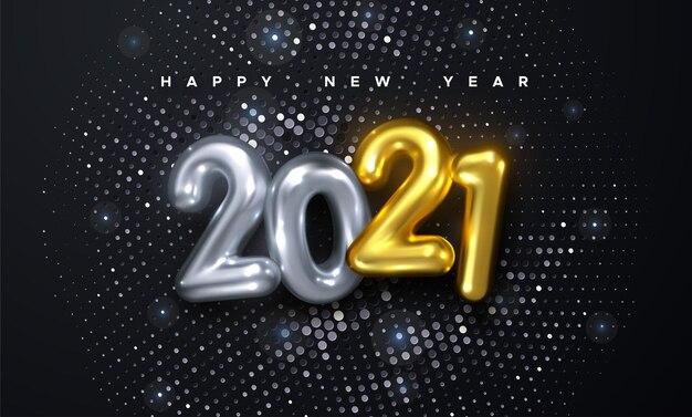 황금과 은색 금속 숫자의 행복 한 새 해 휴일 벡터 일러스트 레이 션