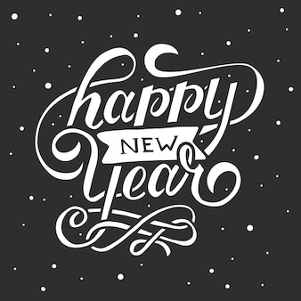 Happy new year. holiday vector illustration with lettering composition and burst. vintage festive label
