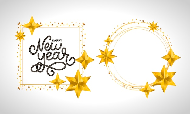 Happy new year. holiday vector illustration with lettering composition with burst christmas