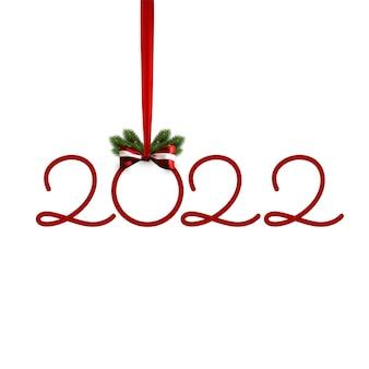 2022年の数字、赤い弓とクリスマスツリーのbtanchで新年あけましておめでとうございます。