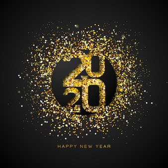 Happy new year illustration with gold number and falling confetti