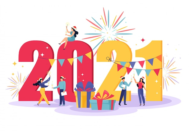 작은 사람들이 파티를 위해 준비와 함께 행복 한 새 해 그림. 샴페인 축배를 올리는 휴일을 축하하는 행복한 팀