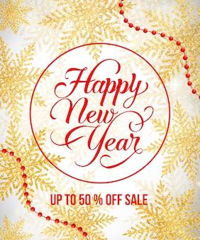 Iscrizione di felice anno nuovo in cornice rotonda