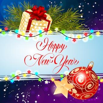 Iscrizione di felice anno nuovo con luci